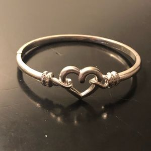 Sterling silver bangle with diamonds